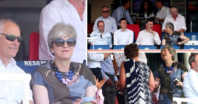 Theresa May spent her first day as a backbench MP at the cricket