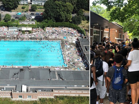 Heatwave tempers flare as 500 people storm lido to try and cool off