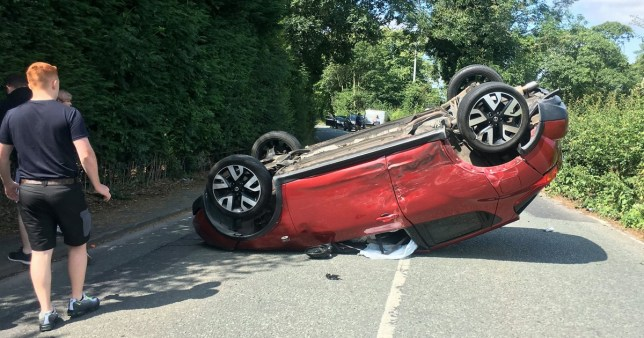 woman lucky to escape after car hit by van whose driver was panicked by a wasp