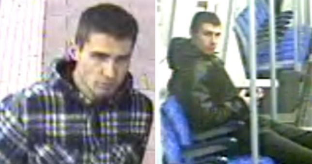 Blurry CCTV grabs of a wanted man on the London Underground Tube