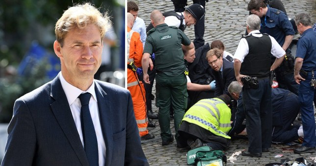 A headshot of Tobias Ellwood and Tobias Ellwood outside of parliament surrounded by police officers and medics during the terror attack