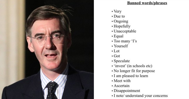 Jacob Rees-Mogg has issued the grammar rules to his new staff (Picture: PA/ITV News)