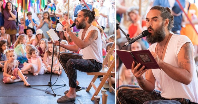 Russell Brand is a pro at reading bedtime stories for crowds at Port Eliot Festival in Cornwall
