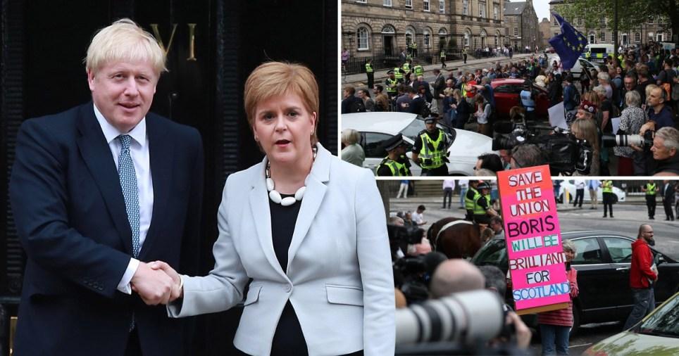 Boris Johnson booed by protesters as he meets Nicola Sturgeon