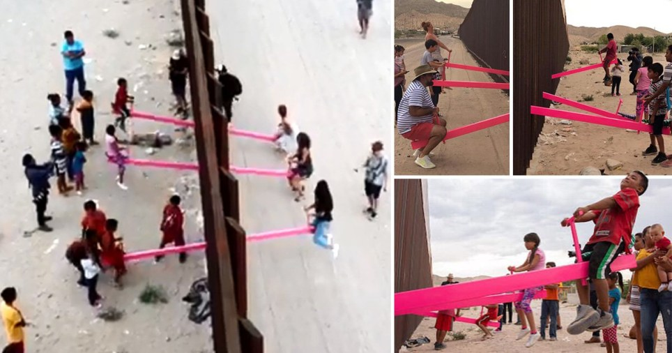 Seesaw at US-Mexican border lets children defy President ...