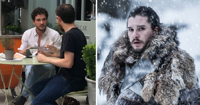 Kit Harington with a friend in London