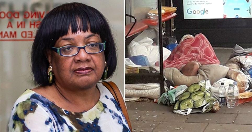 Diane Abbott blames Tory austerity after homeless man dies in bus stop