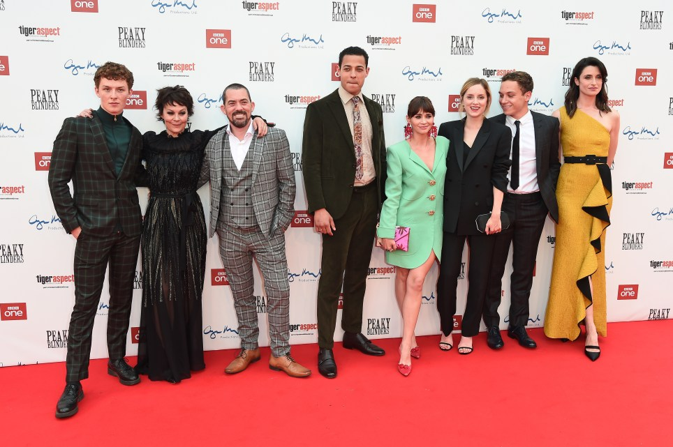 Harry Kirton, Helen McCroy, Packy Lee, Daryl McCormack, Charlene McKenna, Sophine Rundle, Finn Cole and Natasha O'Keeffe attend the premiere of the 5th season of Peaky Blinders