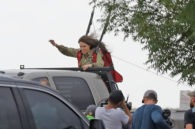 Angelina Jolie proves she is back to her action heroine best as she is pictured performing her own stunts on set of her new film, Those Who Wish Me Dead