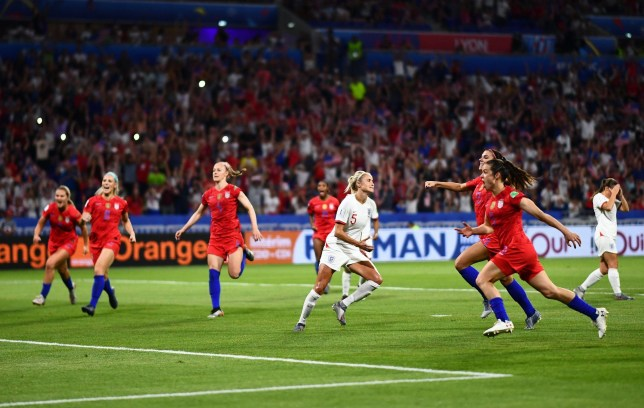 Mandatory Credit: Photo by Javier Garcia/BPI/REX (10325488dz) USA players celebrate as Steph Houghton of England shows a look of dejection after missing her penalty England v USA, FIFA Women's World Cup 2019, Semi Final, Football, Stade de Lyon, Lyon, France - 02 Jul 2019