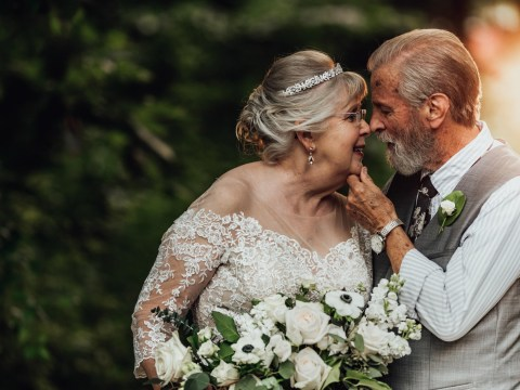 Great-grandparents celebrate their 60th anniversary with a wedding-themed photoshoot