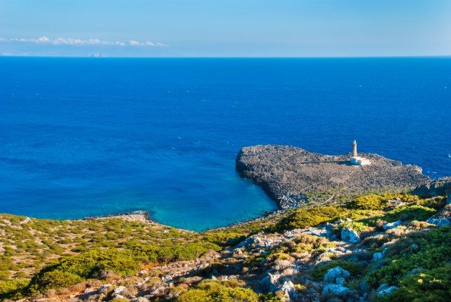 Lighthouse of Cape Apolytaras south of Antikythera island, one of the oldest lighthouses in greece. It was built in 1926, and is a noteworthy monument of modern architecture.; Shutterstock ID 1034024839; Purchase Order: -