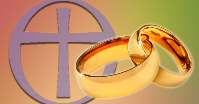 Picture of the Church of England symbol next to two interlocked wedding rings