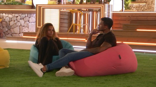 From ITV Studios Love Island: SR5: Ep29 on ITV2 Pictured: Michael and Amber talk. This photograph is (C) ITV Plc and can only be reproduced for editorial purposes directly in connection with the programme or event mentioned above, or ITV plc. Once made available by ITV plc Picture Desk, this photograph can be reproduced once only up until the transmission [TX] date and no reproduction fee will be charged. Any subsequent usage may incur a fee. This photograph must not be manipulated [excluding basic cropping] in a manner which alters the visual appearance of the person photographed deemed detrimental or inappropriate by ITV plc Picture Desk. This photograph must not be syndicated to any other company, publication or website, or permanently archived, without the express written permission of ITV Picture Desk. Full Terms and conditions are available on the website www.itv.com/presscentre/itvpictures/terms For further information please contact: james.hilder@itv.com / 0207 157 3052