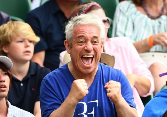 Mandatory Credit: Photo by Javier Garcia/BPI/REX (10329014hm) John Bercow cheering on Federer (he wore a Federer t-shirt) on Centre Court Wimbledon Tennis Championships, Day 6, The All England Lawn Tennis and Croquet Club, London, UK - 06 Jul 2019