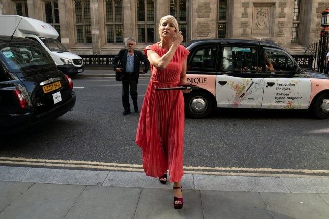 Heather Mills is seen outside the High Court where she is expecting to receive a public apology from News Group Newspapers after bringing a claim of phone hacking, July 8 2019.