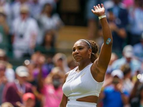 Serena Williams proudly shows off her Disney plaster as she takes on Carla Suarez Navarro at Wimbledon