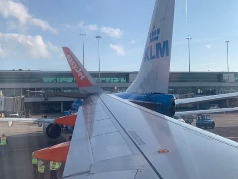 Easyjet plane gets 'lodged' into another aircraft after crash in Amsterdam