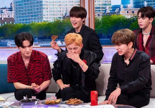 Editorial use only Mandatory Credit: Photo by Ken McKay/ITV/REX (10332090bu) Monsta X 'Good Morning Britain' TV show, London, UK - 11 Jul 2019 K-POP SUPER GROUP MONSTA X We're joined by one of the hottest K-Pop bands in the world, off the back of their Wembley gig, to talk about their global domination, new music and biggest ever tour