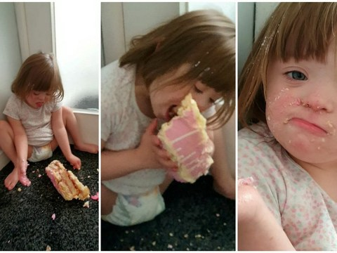 Little girl steals mum's birthday cake and sneakily eats the entire thing
