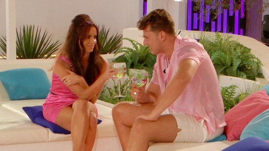 From ITV Studios Love Island: SR5: Ep35 on ITV2 Pictured: Maura and Curtis chat. This photograph is (C) ITV Plc and can only be reproduced for editorial purposes directly in connection with the programme or event mentioned above, or ITV plc. Once made available by ITV plc Picture Desk, this photograph can be reproduced once only up until the transmission [TX] date and no reproduction fee will be charged. Any subsequent usage may incur a fee. This photograph must not be manipulated [excluding basic cropping] in a manner which alters the visual appearance of the person photographed deemed detrimental or inappropriate by ITV plc Picture Desk. This photograph must not be syndicated to any other company, publication or website, or permanently archived, without the express written permission of ITV Picture Desk. Full Terms and conditions are available on the website www.itv.com/presscentre/itvpictures/terms For further information please contact: james.hilder@itv.com / 0207 157 3052