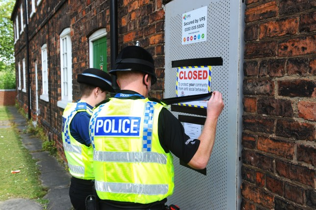 Contractors secure 22 Lindsey Street, Scunthorpe, North Lincolnshire following the courts imposing a three month closure notice on the property following serveral drugs raiads by Humberside Police.