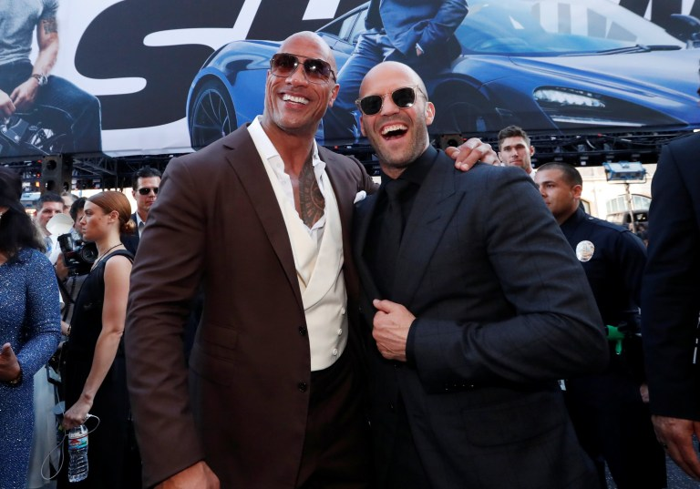 """Cast members Dwayne Johnson and Jason Statham arrive at the premiere for """"Fast & Furious Presents: Hobbs & Shaw"""" in Los Angeles, California, U.S., July 13, 2019. REUTERS/Mario Anzuoni"""
