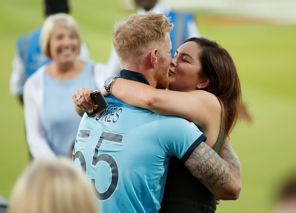England's Ben Stokes celebrates with partner Clare after winning the World Cup Cricket - ICC Cricket World Cup Final