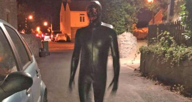 Avon and Somerset Police The rubber-clad assailant ? described by one victim as ?touching his groin, grunting and breathing heavily? ? has jumped out at several men and women late at night, over a number of weeks, in Claverham.