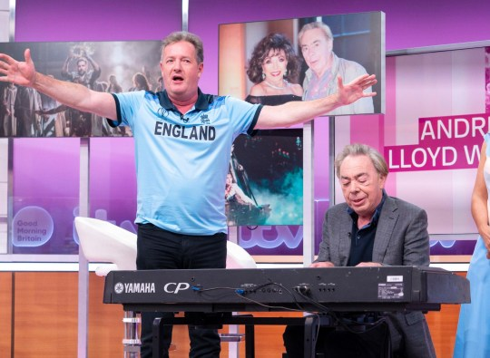 Editorial use only Mandatory Credit: Photo by S Meddle/ITV/REX (10334505bx) Piers Morgan and Sir Andrew Lloyd Webber 'Good Morning Britain' TV show, London, UK - 15 Jul 2019 ANDREW LLOYD WEBBER - SAM Prepare for yet another very Andrew Lloyd Webber summer, as the Lord has five of his musicals running concurrently in London! At age 71, he's just broke another record by having production of Joseph (currently celebrating its 50th anniversary in 2019) and the Amazing Technicolor Dreamcoat, Jesus Christ Superstar, Evita, The Phantom Of The Opera and School Of Rock running concurrently in the West End. 2019 also sees the film release of Cats, Webber's hit musical starring an incredible cast that includes Jennifer Hudson, Taylor Swift, James Corden, Sir Ian McKellen, Idris Elba and Dame Judi Dench.