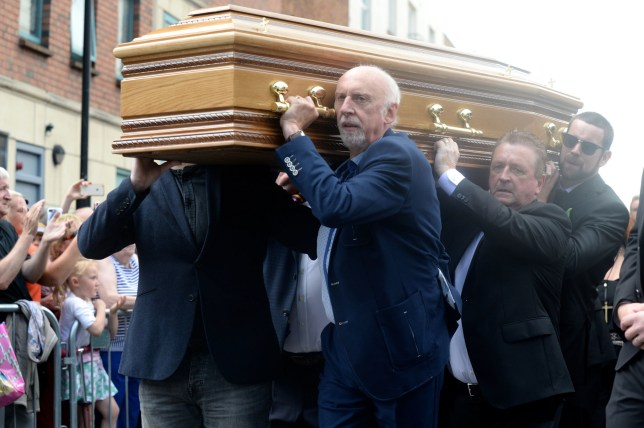 The coffin of Father Ted star Brendan Grace is carried into the Church of St. Nicholas of Myra, Dublin. PRESS ASSOCIATION Photo. Picture date: Monday July 15, 2019. See PA story IRISH Grace. Photo credit should read: Justin Farrelly/PA Wire