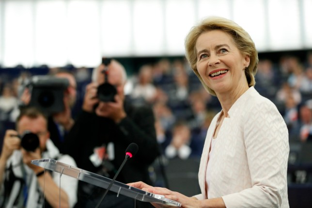 Germany's Ursula von der Leyen delivers her speech at the European Parliament in Strasbourg, eastern France, Tuesday July 16, 2019. Ursula von der Leyen outlined her vision and plans as Commission President. The vote, held by secret paper ballot, will take place later today
