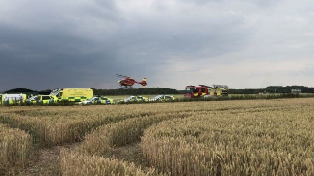 BEST QUALITY AVAILABLE Undated handout photo issued by West Midlands Ambulance Service of the scene where two men have suffered non life-threatening injuries, when their light aircraft crash-landed in a wheat field shortly after take-off. PRESS ASSOCIATION Photo. Issue date: Wednesday July 17, 2019. One of the two casualties was trapped in the plane after it came down close to Otherton Airfield, near Penkridge in Staffordshire, at around 3.45pm on Tuesday. See PA story ACCIDENT Staffordshire. Photo credit should read: West Midlands Ambulance Service/PA Wire NOTE TO EDITORS: This handout photo may only be used in for editorial reporting purposes for the contemporaneous illustration of events, things or the people in the image or facts mentioned in the caption. Reuse of the picture may require further permission from the copyright holder.