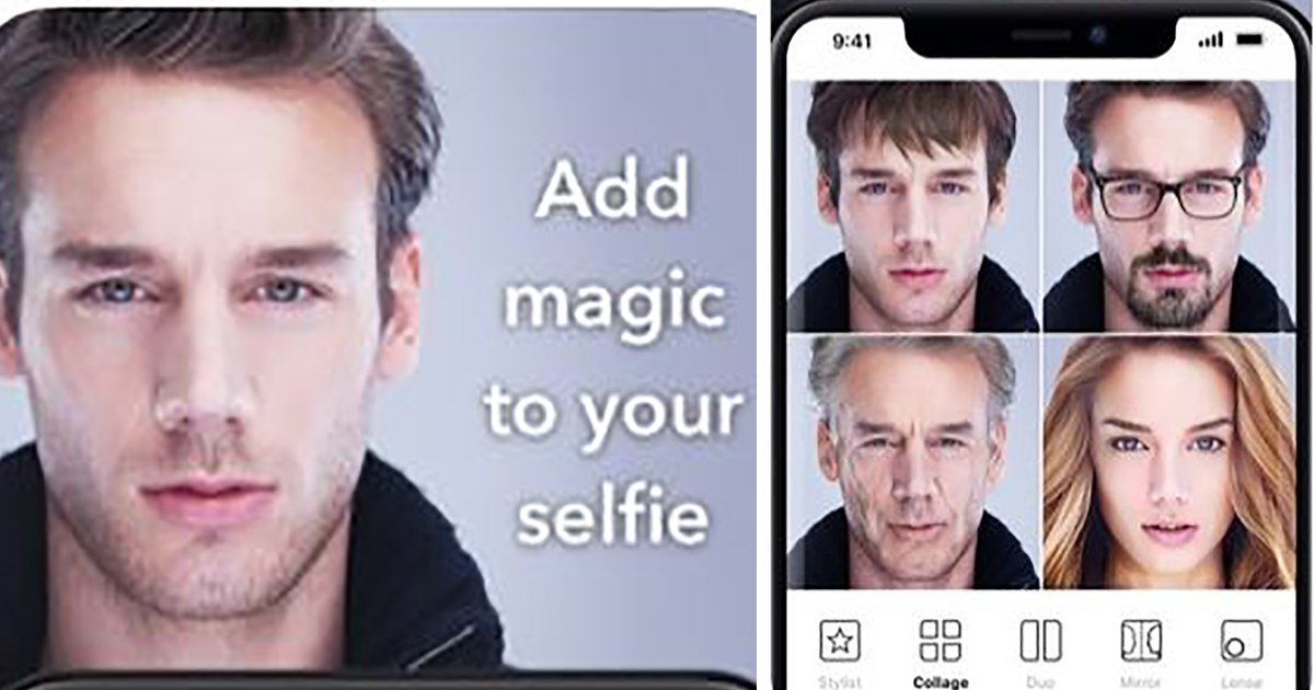 A shot of photos from FaceApp