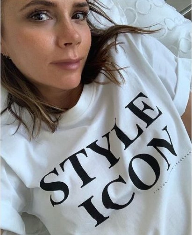 Victoria Beckham wears her thoughts on her shirt as she declares herself style icon