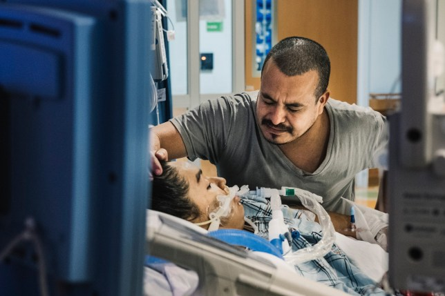 Manuel G?mez with his daughter Heydi, who is on life support, at a hospital in Queens, July 13, 2019. G?mez was granted a two-week parole from Immigration and Customs Enforcement detention to see his daughter, who attempted to end her life. (Christopher Lee/The New York Times) Credit: New York Times / Redux / eyevine For further information please contact eyevine tel: +44 (0) 20 8709 8709 e-mail: info@eyevine.com www.eyevine.com