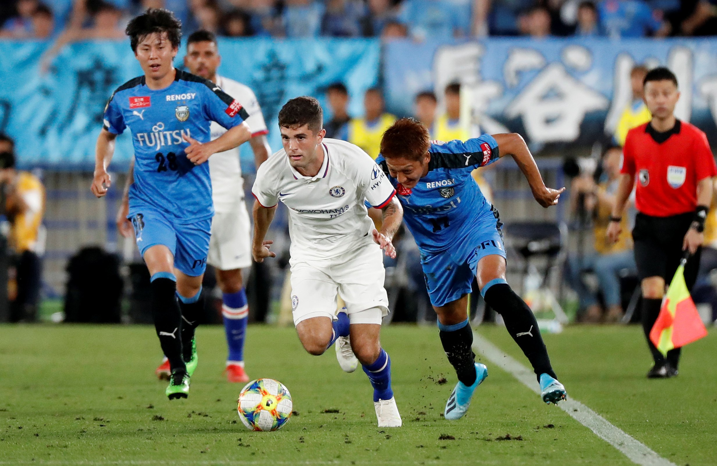 Christian Pulisic done his Chelsea entrance as a second half surrogate opposite Kawasaki Frontale