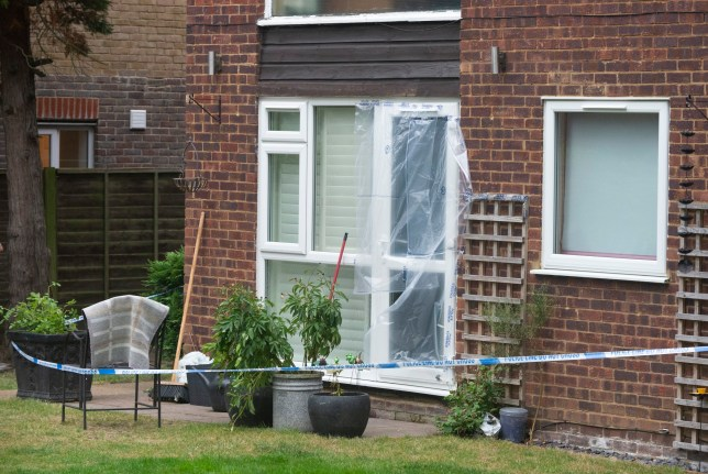 Beckenham ,UK. A police cordon in place at the back of the residential flats. Police have launched a murder investigation after the body of a woman was found at a residential address in Beckenham, South East London. Police were called on Thursday 18th July. She was pronounced dead at the scene