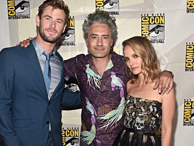 SAN DIEGO, CALIFORNIA - JULY 20: (l-R) Chris Hemsworth, Director Taika Waititi and Natalie Portman of Marvel Studios' 'Thor: Love and Thunder' at the San Diego Comic-Con International 2019 Marvel Studios Panel in Hall H on July 20, 2019 in San Diego, California. (Photo by Alberto E. Rodriguez/Getty Images for Disney)