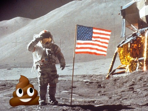 The moon is covered in human poo