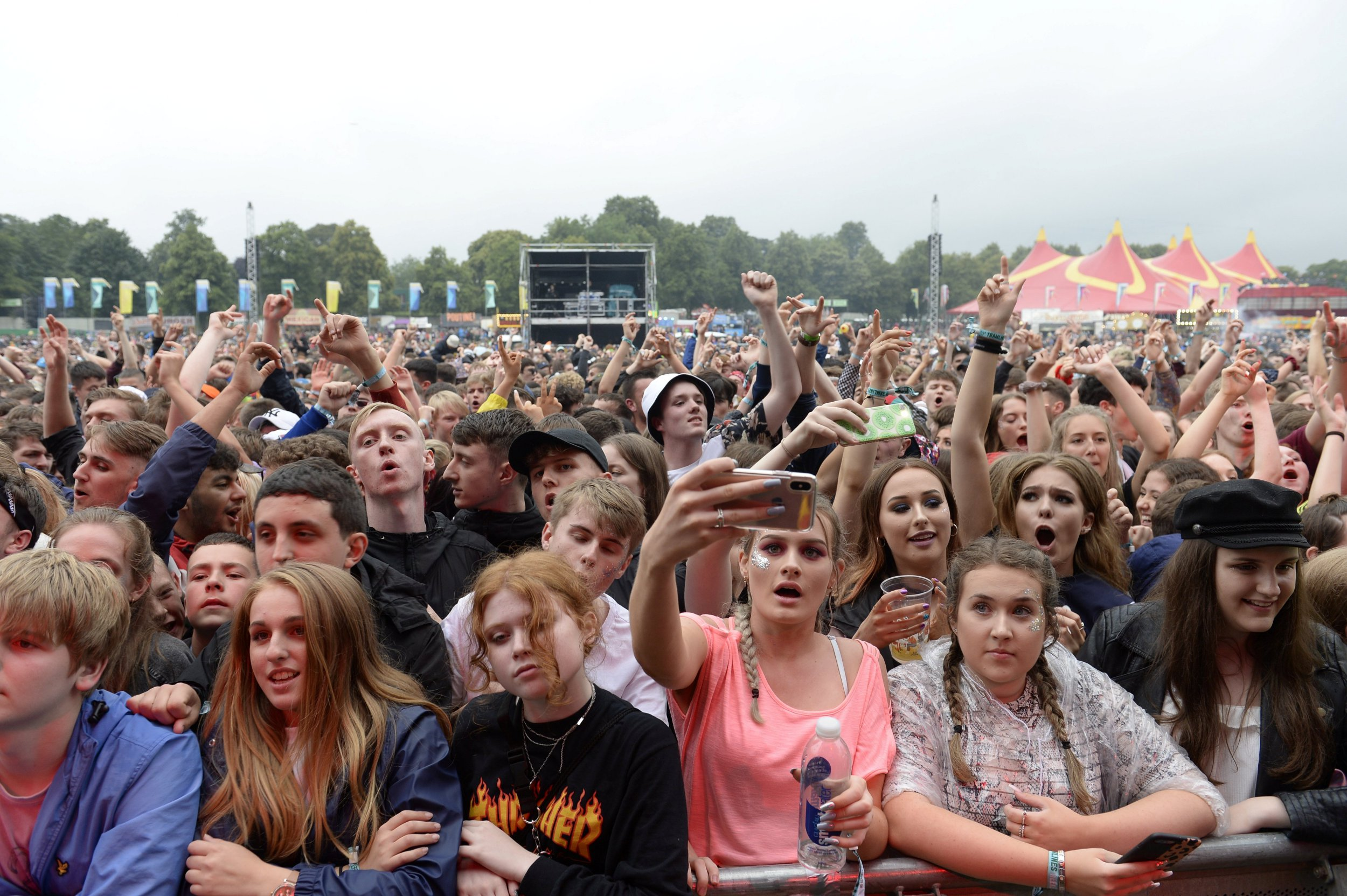 A General perspective display a throng during a categorical Stage during Tramlines in Sheffield this weekend. See SWNS story SWLEquake; A heading scientist has suggested that revellers dancing during a renouned song festival caused teenager EARTHQUAKES.Seismologist Paul Denton, plan personality during a British Geological Survey, available seismic tremors during on a initial night of a Tramlines Festival on Friday, Jul 19. He pronounced a earthquakes were picked adult during a title set by indie rockers, Two Door Cinema Club that kicked off a three-day festival. The vibrations were caused by a throng dancing to a band's biggest hits. The festival, initial hold in 2009, saw some-more than 70 artists perform over 4 stages in front of a insane throng of around 100,000 over 3 nights in Sheffield, South Yorks.