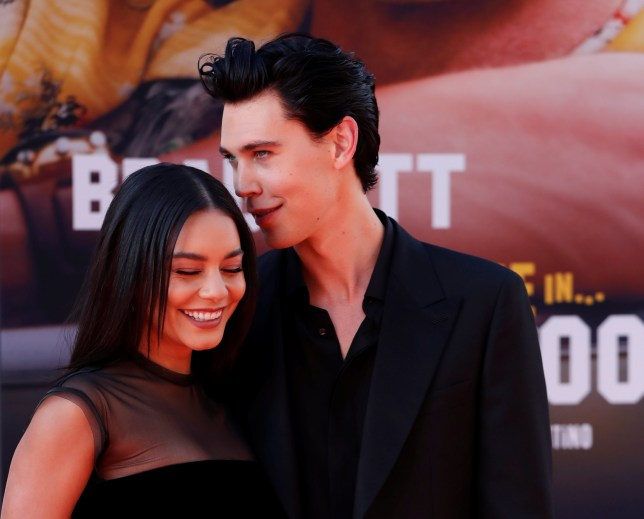 "Austin Butler and Vanessa Hudgens pose at the premiere of ""Once Upon a Time In Hollywood"""