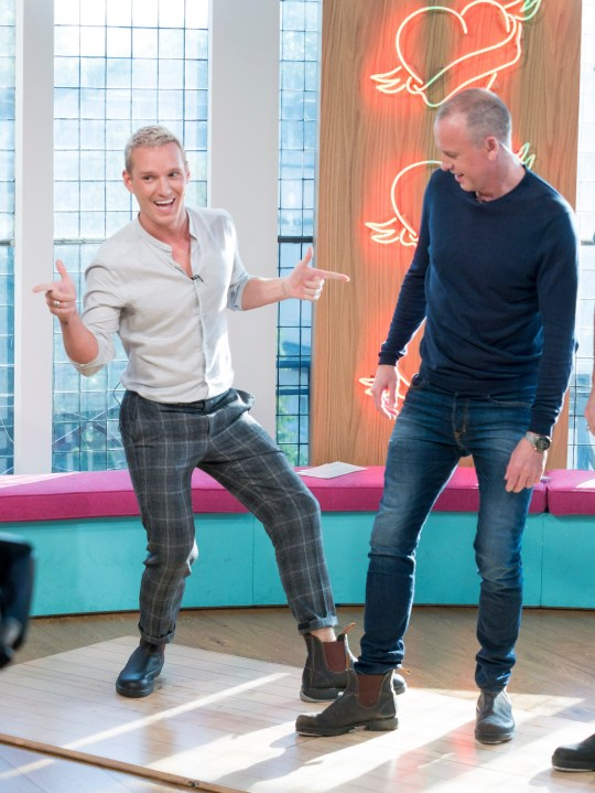 Mandatory Credit: Photo by Steve Meddle/REX (9939654ep) Jamie Laing and Tim Lovejoy 'Sunday Brunch' TV show, London, UK - 21 Oct 2018 PROGRAM