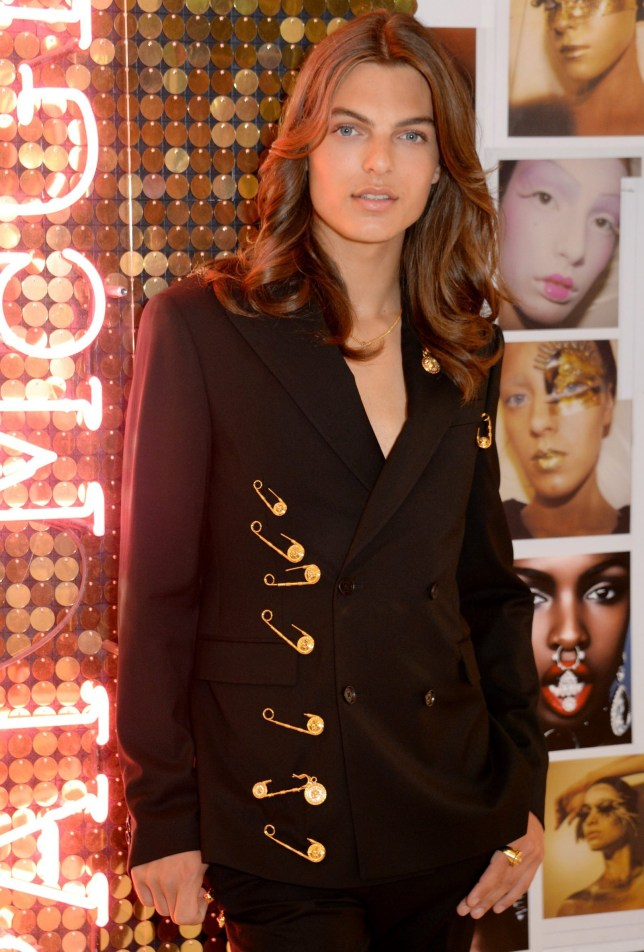 Liz Hurley Son Damian Pays Homage To Versace Safety Pin