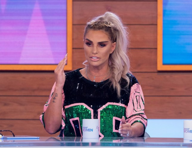 Editorial use only Mandatory Credit: Photo by Ken McKay/ITV/REX (10346980af) Katie Price 'Loose Women' TV show, London, UK - 25 Jul 2019 Katie Price announces her engagement to Kris Boyson exclusively on today's Loose Women.