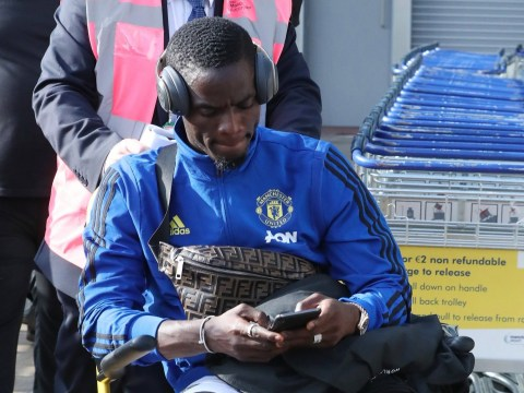 Eric Bailly arrives back in Manchester wearing leg brace following serious knee injury
