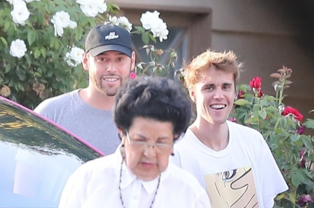 Justin Bieber and music manager Scooter Braun on the set of a music video in North Hollywood