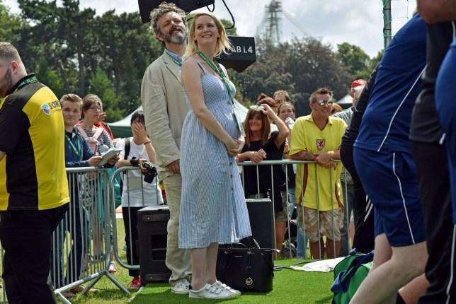 Actor Michael Sheen and his pregnant partner, Anna Lundberg