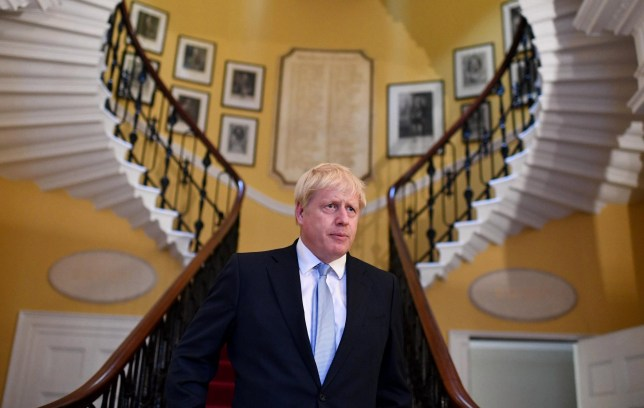 Image ?Licensed to i-Images Picture Agency. 24/07/2019. London, United Kingdom. Boris Johnson becomes Britain's new Prime Minister. Boris Johnson leaving Admiralty House, London, for Buckingham Palace to see the Queen before heading to Number 10 Downing Street as Britain's new Prime Minister, after beating Jeremy Hunt in the Conservative party Leadership campaign. Picture by Andrew Parsons / i-Images