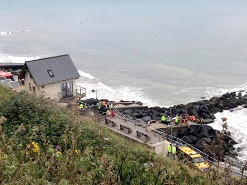 Man saved after being trapped in rocks off Norfolk coast for nearly four hours